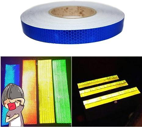 Tuqiang/® 25 mm x 5 m nastro riflettente bande di sicurezza strisce riflettenti di avvertimento notturne Sticker Tape Film