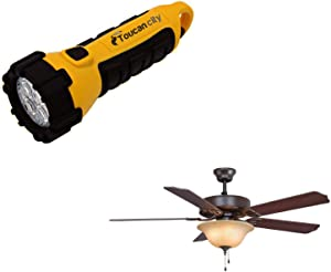 Toucan City LED Flashlight and FANIMATION Aire Decor 52 in. Oil-Rubbed Bronze with Amber Glass Ceiling Fan with Light Kit BP220BOB1