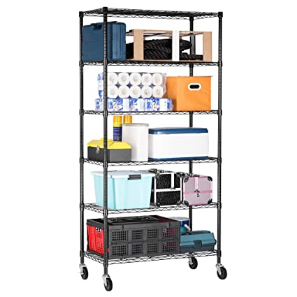 LANGRIA 6 Tier Wire Shelving Garage Shelving Storage Rack Metal Shelves,  Heavy Duty Commercial Metal