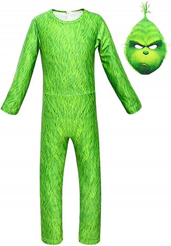 MainCustom Disfraz de Grinch para niños y Guantes de máscara Mono ...