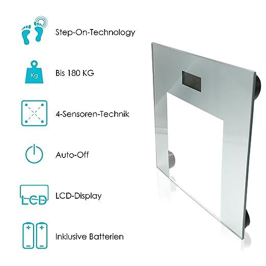 ... con pantalla LCD, encendido y apagado automático, 2-180 kg/balanza/medir peso corporal/balanza digital: Amazon.es: Salud y cuidado personal