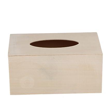 Amazon Com Homyl Creative Unfinished Wood Tissue Box Cover Paper