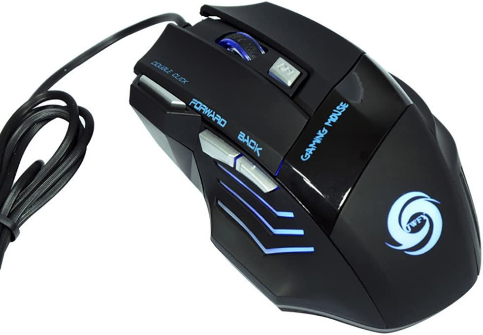 Shentesel Gaming Mouse Professional 7Buttons LED Optical USB Wired Ergonomic Computer Mice Black