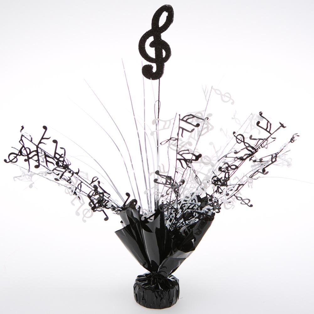 Party Deco 06177 Balloon Weight Centerpiece - Black Treble Clef - Pack of 6