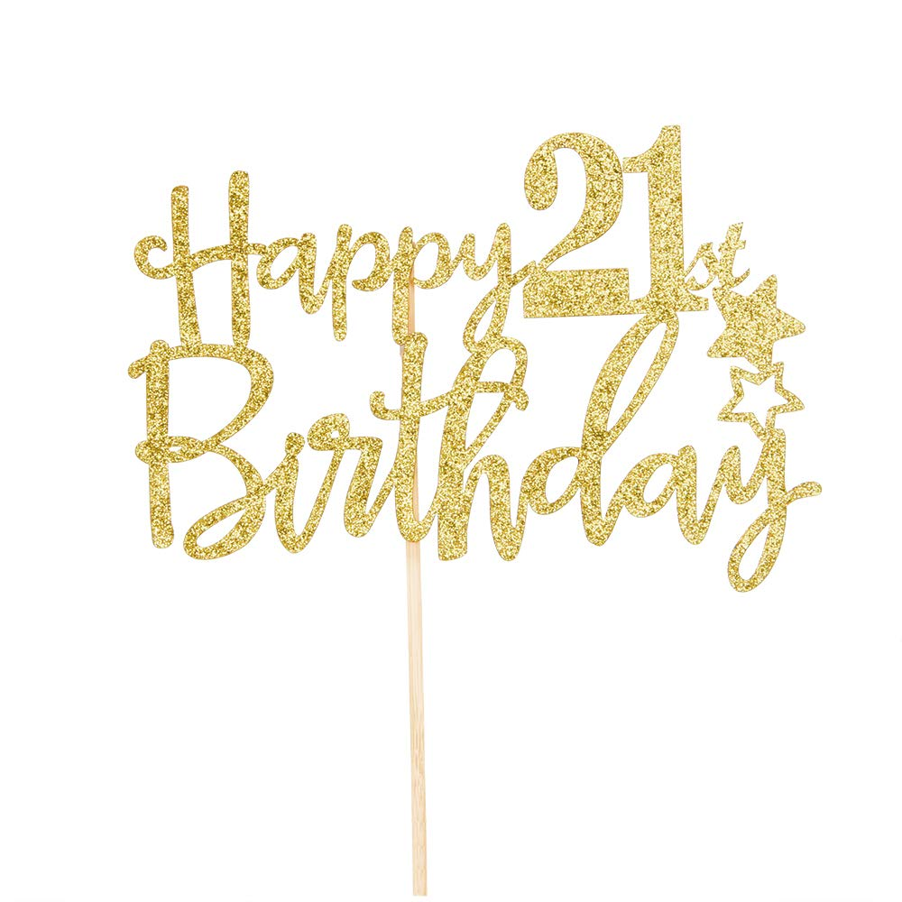 Gold Glitter Happy 21st Birthday Cake TopperHello 21 Cheers To Years Fabulous Party Decoration