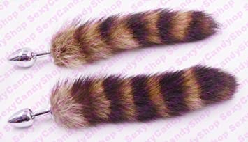 4cc2fac81 Image Unavailable. Image not available for. Colour  Millierch Huggins Love  Faux Raccoon Tail Butt Anal Plug Sexy ...