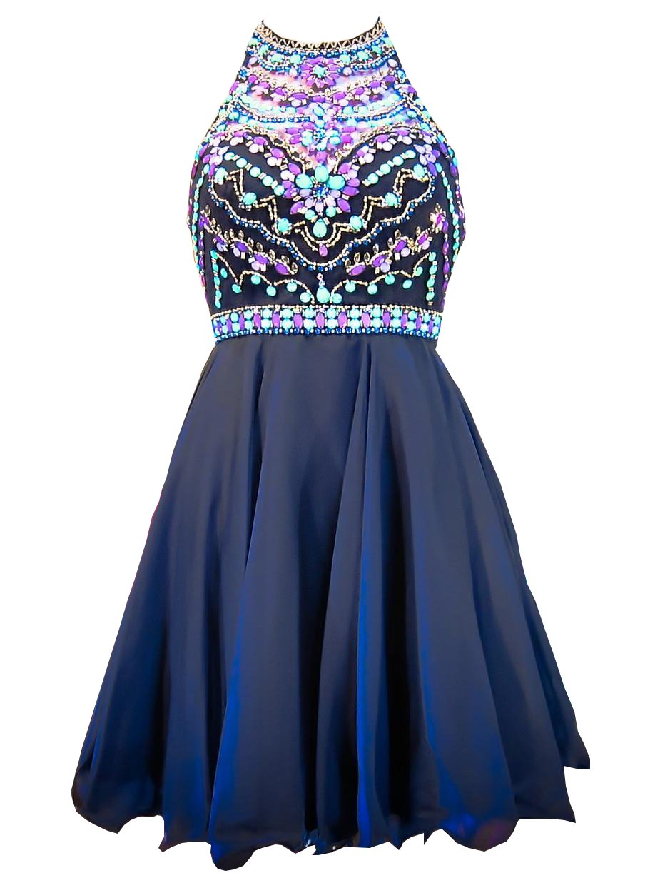 Fanciest Women's Halter Beaded Prom Dresses 2016 Short Homecoming Gowns Navy Blue US18
