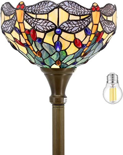 Tiffany Floor Lamp Torchiere Up Lighting W12H66 Inch LED Bulb Included Sea Blue Stained Glass Crystal Bead Dragonfly Lampshade Antique Standing Iron Base Foot Switch S128 WERFACTORY Decoration
