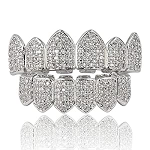 JINAO 18K Gold Plated Macro Pave CZ Iced-Out Grillz with Extra Molding Bars Included