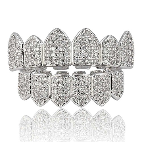 JINAO 18K Gold Plated Macro Pave CZ Iced-Out Grillz with Extra Molding Bars Included (Silver Set)
