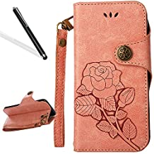 Flip Case for iPhone 5S,Wallet Case for iPhone SE,Leeook Retro Elegant Pink Rose Flower Leaf Creative Pattern Design Luxury PU Leather Magnetic Closure Buckle Flip Wallet Folio Inner Soft TPU Case with Card Slots Stand Function Book Style Strip Bumper Cover Case for iPhone 5S/SE/5 + 1 x Free Black Stylus