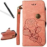 Galaxy S8 Flip Case,Galaxy S8 Wallet Case,Leeook Retro Elegant Pink Rose Flower Leaf Creative Pattern Design Luxury PU Leather Magnetic Closure Buckle Flip Wallet Folio Inner Soft TPU Case with Card Slots Stand Function Book Style Strip Bumper Cover Case f