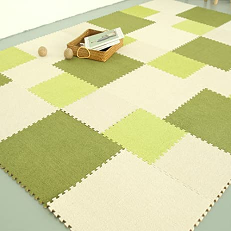 Yazi Fuzzy Area Rug Puzzle Play Mats Set Of 9 Tiles Light Green Color, Each