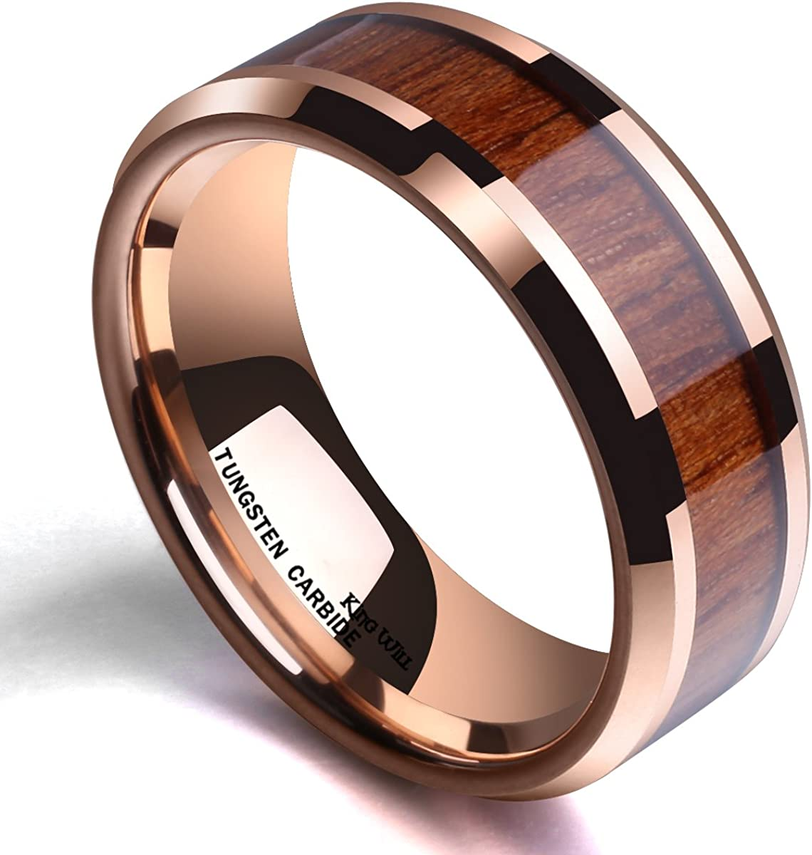 King Will Nature Koa Wood Inlay Tungsten Carbide Wedding Ring 8mm Rose Gold//Blue//Black//Silver High Polished Comfort Fit