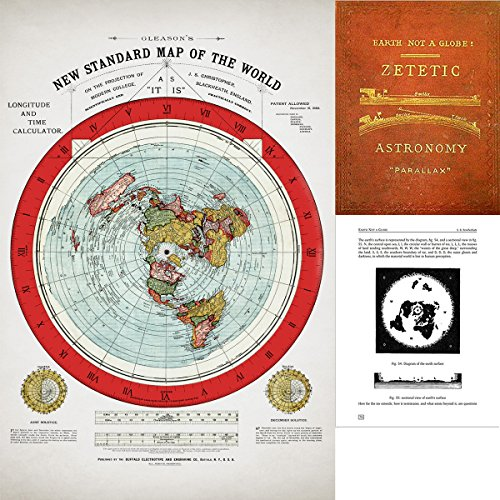 Lone Star Art Flat Earth Map - Gleason's 1894 New Standard Map Of The World - 24