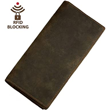 ad0d49b8c7f4 Image Unavailable. Image not available for. Color  Itslife Men s RFID  BLOCKING Vintage Look Genuine Leather Long Bifold Wallet Rfid