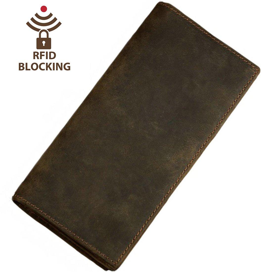 Itslife Men's RFID BLOCKING Vintage Look Genuine Leather Long Bifold Wallet Rfid
