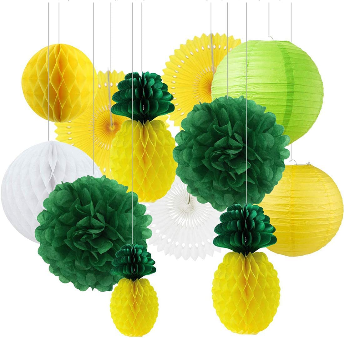 Zorpia Summer Party Honeycomb Pineapple Ball Tropical Hawaiian Party Festival Paper Lantern Paper Fan Decoration