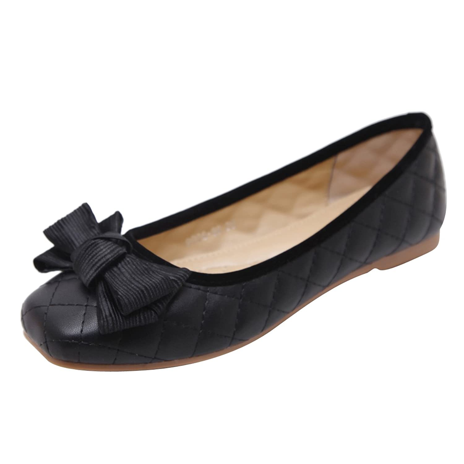 7a7b10044229 Dear Time Bowtie Ballet Flats Square Toe Slip On Ballerina Women Loafer  Shoes