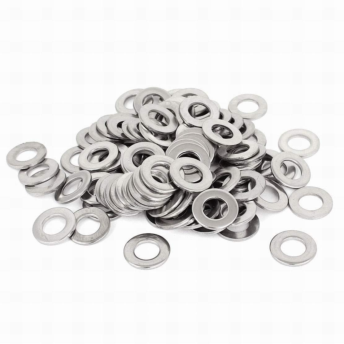 Silver Tone 304 Stainless Steel Flat Washer 3/8-inch 100pcs for Screws Houseuse