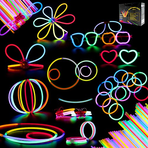 Glow Sticks, 268Pcs BUDI Glow Party Favors for Kids/Adults: 100 Glowsticks 7 Colors& Multi-Connectors for Glow Necklace, Flower Balls, Luminous/Apple/Heart Glasses and Triple/Butterfly Bracelets