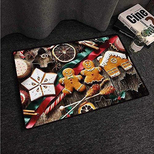 HCCJLCKS Non-Slip Door mat Gingerbread Man Delicious Homemade Cookies Dried Fruits and Bakery Tools Festive Rustic Non-Slip Door mat pad Machine can be Washed W20 xL31 Multicolor