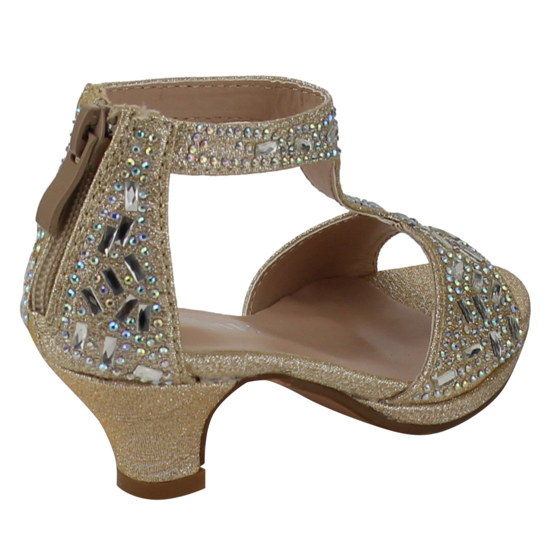 Link Excited-95K Girls Glitter Rhinestone T-Strap Back Zipper Wrapped Heel Sandals