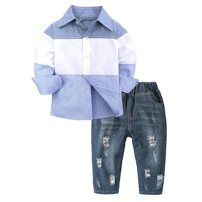 959197eadc Neugeborene Baby Junge Mode Langarm Gentleman Gestreift Hemd T-Shirt Tops +  Jeans Hose Pants