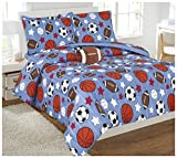 Elegant Home Multicolor Sports Football Basketball Baseball Soccer Design Reversible 8 Piece Comforter Bedding Set for Boys /Kids Bed In a Bag With Sheet Set & Decorative TOY Pillow # Game Day (Full)