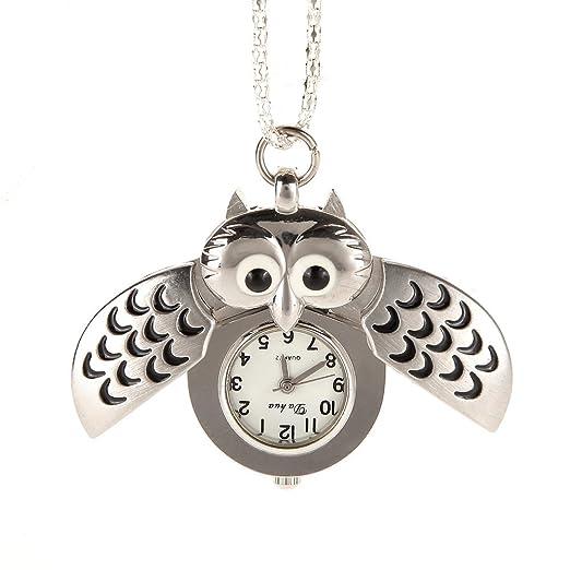 AWStech Vintage Lovely Cartoon búho Colgante alas Abiertas Reloj Collar de Cuarzo Llavero Reloj de Bolsillo de Acero, Plata, Ropa Vestido Collocation, ...