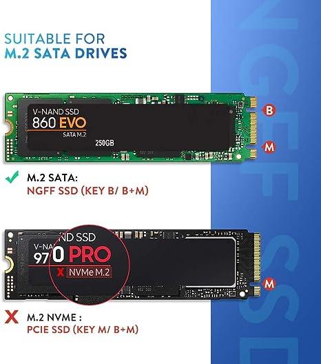 UGREEN Caja M.2 SATA a USB 3.0, Carcasa M.2 SSD a Micro USB para B ...