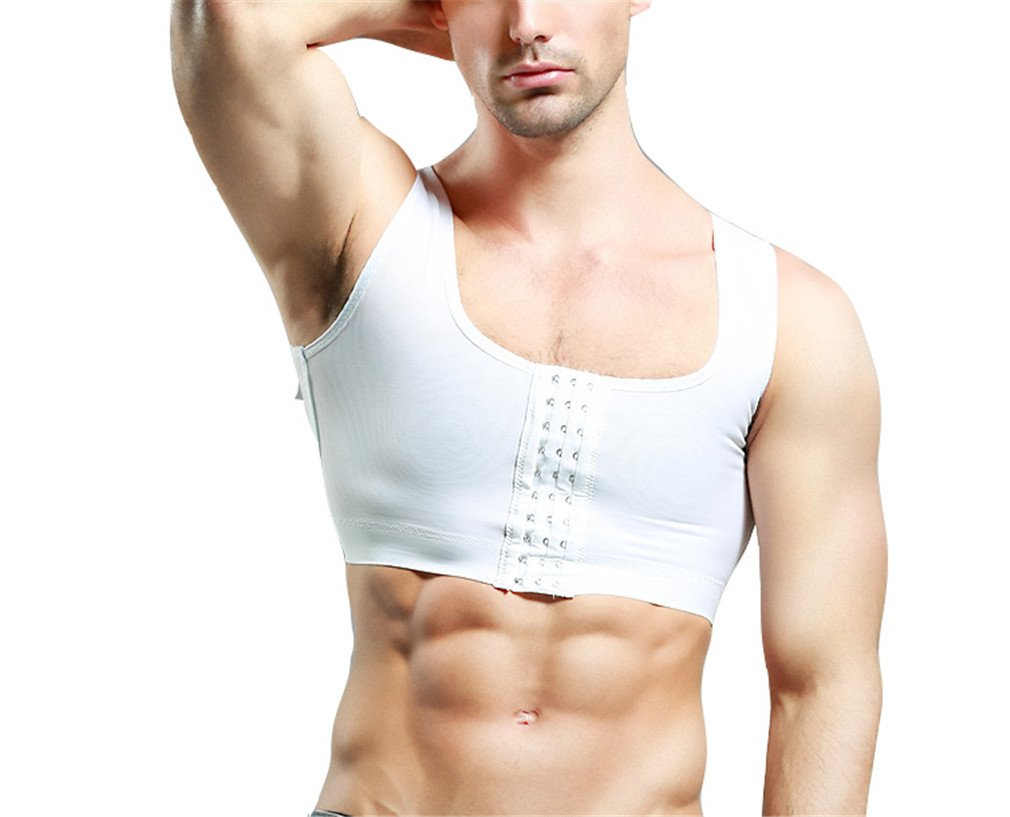 Breathable Invisible 3 Rows Clasp Gynecomastia Hide Man Moobs Chest Binders Short Tank (Medium, White)