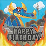 """Club Pack of 192 Orange and Blue Dragons Happy Birthday Luncheon Napkin 6.5"""""""