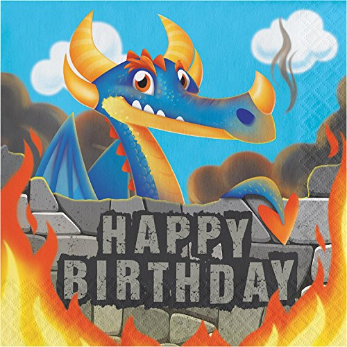 "Club Pack of 192 Orange and Blue Dragons Happy Birthday Luncheon Napkin 6.5"" by Party Central"
