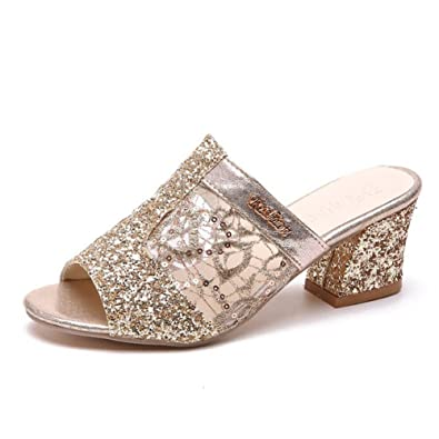 ca1a3cdb98256b Btrada Sexy Block Heel Slides for Women Elegant Net-Yarn Sequins Sandals  Peep Toe Slip