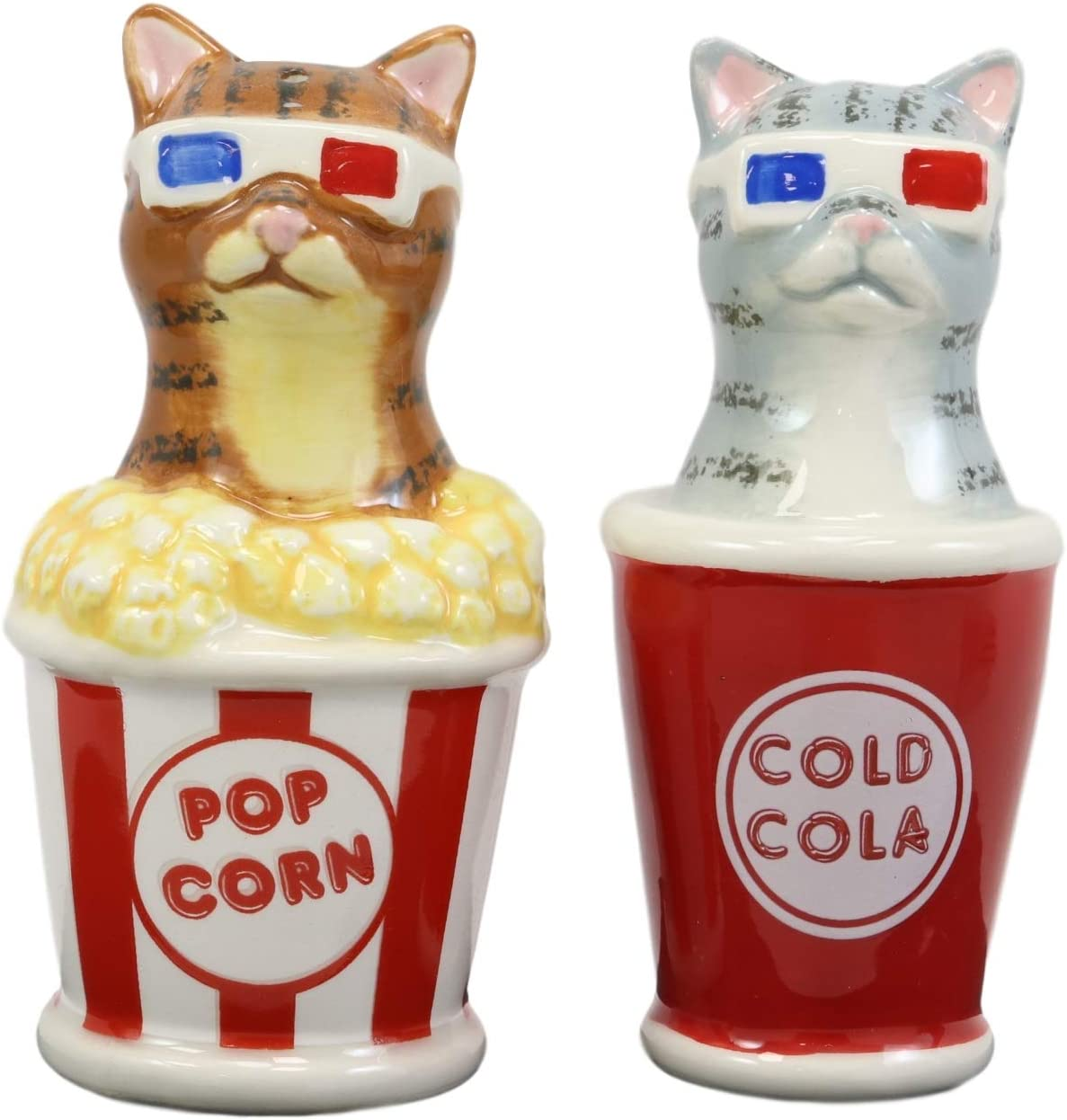 Ebros Funky Cats With Cinema 3D Glasses Sitting In Soda Pop Cup And Popcorn Tub At The Movies Salt And Pepper Shakers Set Ceramic Figurines Party Kitchen Tabletop Cat Decor Collectible