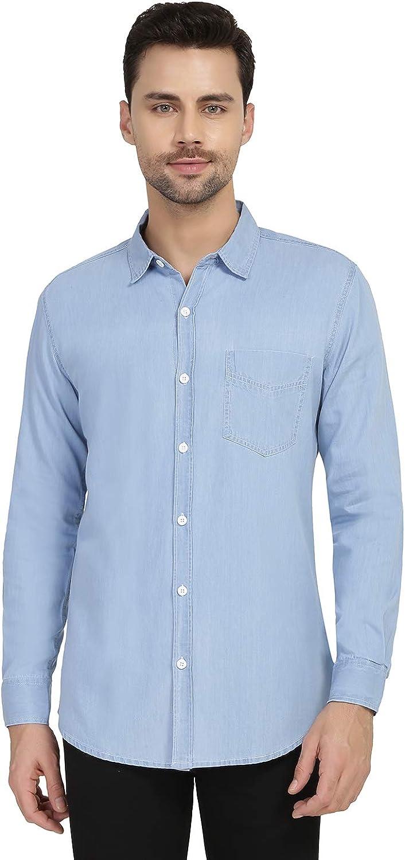 Nick&Jess - Camisa vaquera de manga larga para hombre, color azul claro Azul azul S(Pecho:99 cm): Amazon.es: Ropa y accesorios