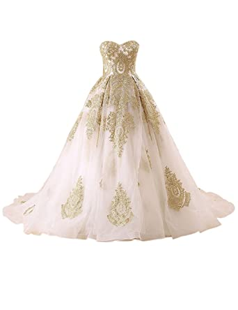 4674fdf8b2c Erosebridal Sweetheart Ball Gown Wedding Dresses Bridal Gowns with Gold  Embroidery Size 2
