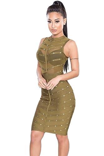 EZON-CH Women's Studded Bandage Dress
