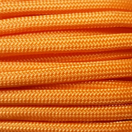 Tangerine 100' Paracord Hero 10' 20' 50' 100' Hanks Parachute 550 Cord Type III 7 Strand Paracord - Largest Paracord Selection