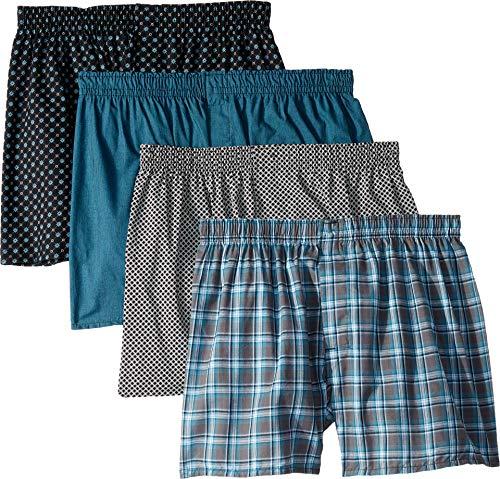 Hanes Men's 4-Pack Core Cotton Plaid Boxers Assorted 1 Medium ()