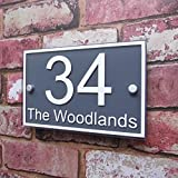 Personalised House Sign Door Number Street Address Plaque Modern 'Rectangle' MADE TO ORDER Slate Grey and White