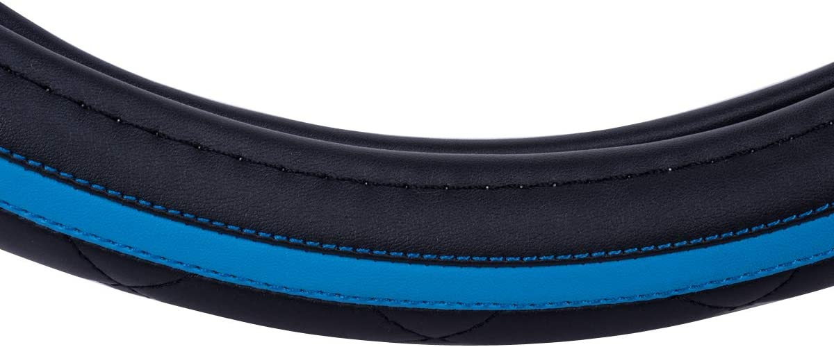 CAR PASS Sporty Quilting Leather Universal Fit Steering Wheel Cover,Fit For Suvs,Vans,Sedans,Trucks Black And blue