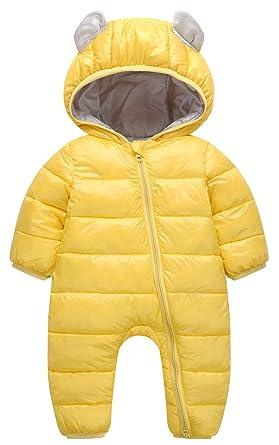 ca977e50898ea Cloudkids ベビー服 ロンパース 長袖 中綿 ジャケット フード 耳付き ジャンプスーツ 赤ちゃん カバーオール 防寒着 男の子