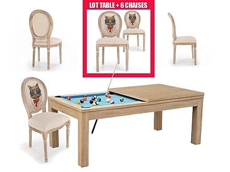 Mesa de billar de 6 sillas de comedor: Amazon.es: Hogar