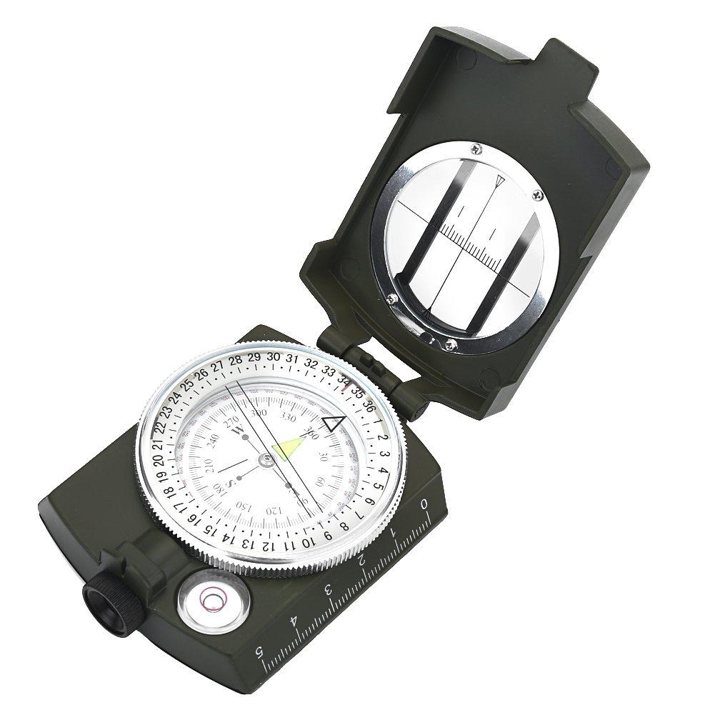 VGEBY Outdoor Compass Sighting Luminous Lensatic Waterproof Compass Sighting Luminous Lensatic Waterproof Compass Army Green