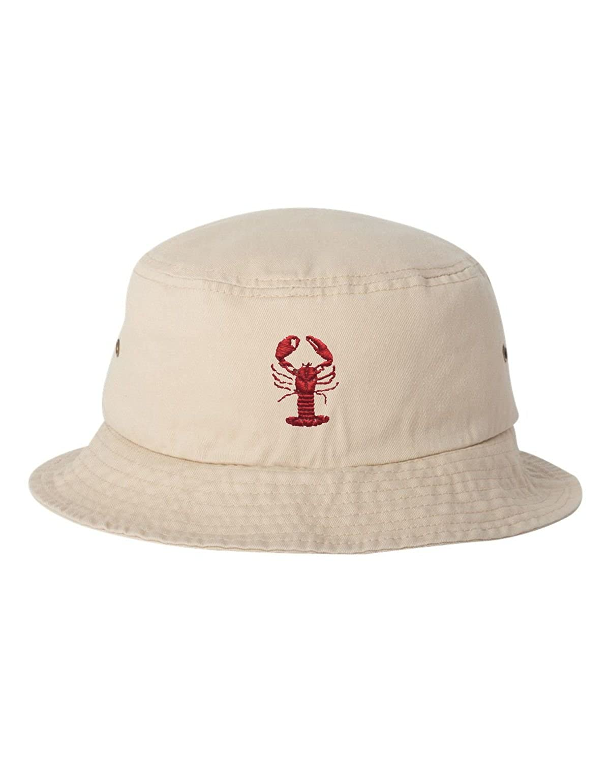 Go All Out Adult Lobster Embroidered Bucket Cap Dad Hat