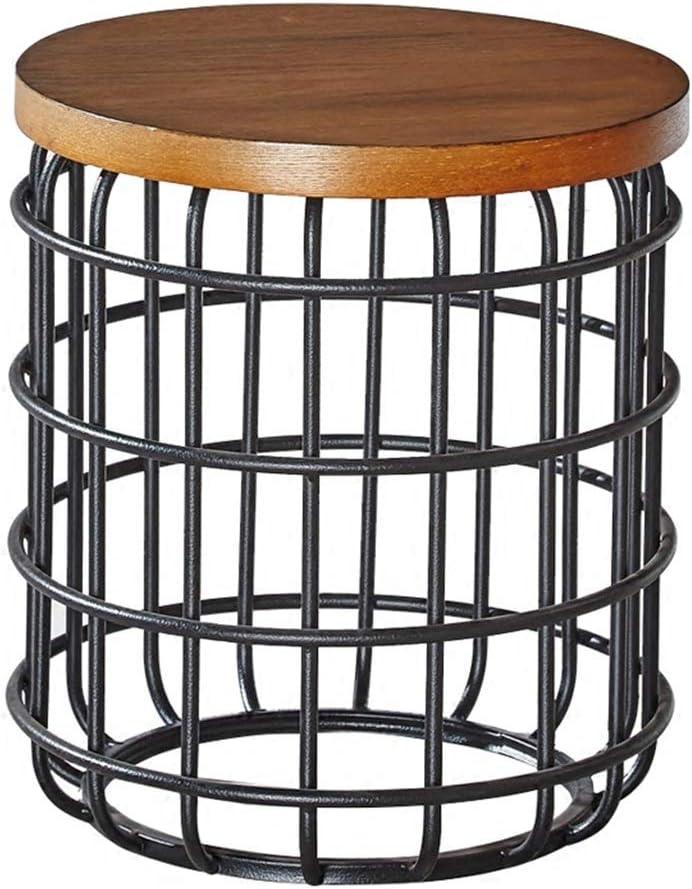 VS Venta-stock Coppia di tavolini da caff/è Guili con ripiano in Legno Naturale e Struttura in Metallo Nero