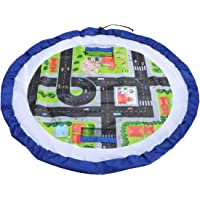 Kids 2-in-1 Play Mat and Toy Storage Bag Play and Go Playmat Indoor Outdoor Floor Activity Organiser Mat - Blue