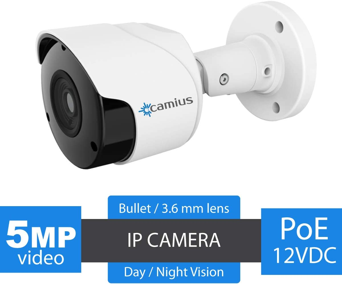 Camius 5MP PoE Outdoor IP Security Camera with Audio, Night Vision, PC,Mac,Surveillance Camera App,Chrome, Internet Explorer Browser View, Waterproof Video for Home Security - BOLTX5PA